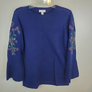 Susan Graver Blue Embroidered Sweater Small
